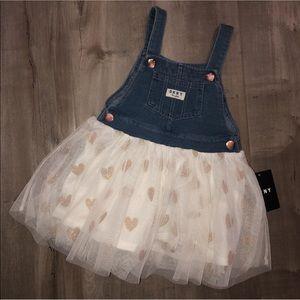 NWT DKNY overall dress 4T
